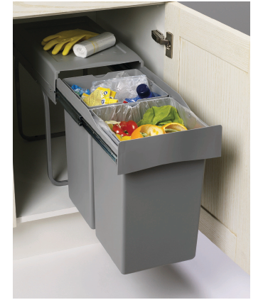Cubo extracción total 2 cubetas Spazio 2.0 Gestión de residuos Capacidad Litros: 2 x 21 litros, 2 x