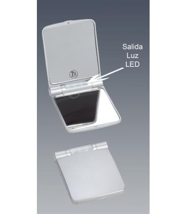 Espejo de bolso con luz led plata Espejos de aumento aumento: x5 aum, x7 aum, x10 aum   Tienda