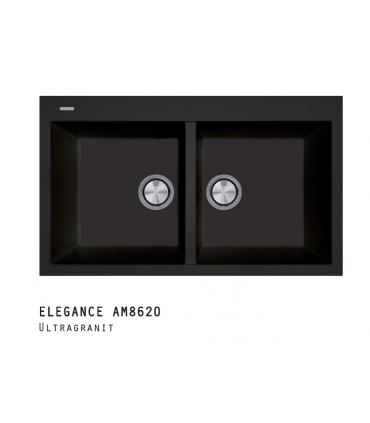 Fregadero Elegance dos cubetas AM8620 Fregaderos Color: blanco late 58, negro 44, blak matt 70